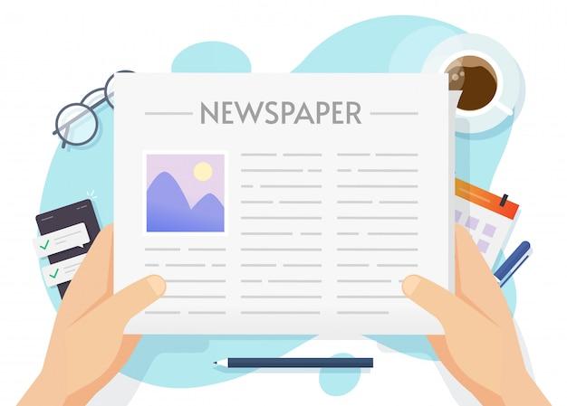 Journal quotidien ou lecture de journaux et mains humaines.