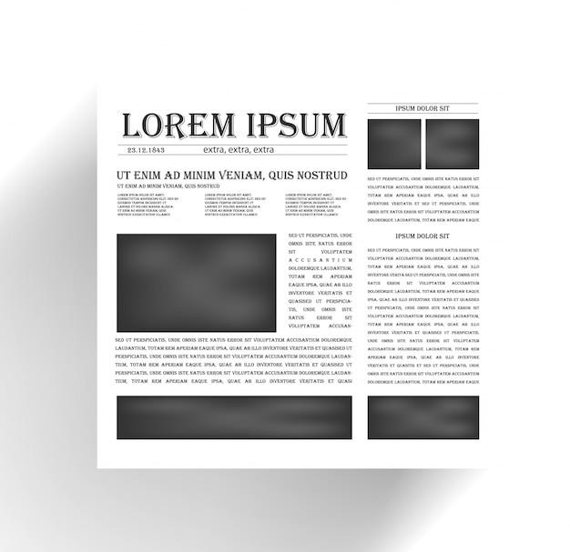 Journal des vecteurs et icône des nouvelles. noir