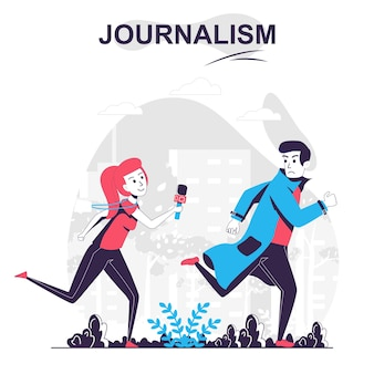 Journalisme isolé concept de dessin animé journaliste ou paparazzi court après les médias de masse de l'homme