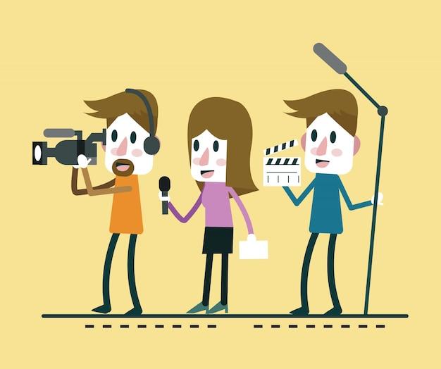 Journaliste news reporter interview, avec journaliste et interviewer. design de personnage plat. caricature d'illustration vecteur.