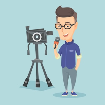 Journaliste de télévision avec microphone et caméra.