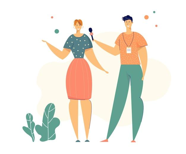Journalistes personnages homme et femme avec microphone