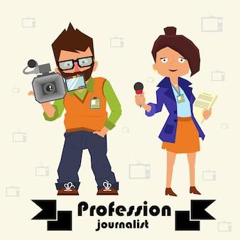Journalistes professionnels. opérateur et journaliste.