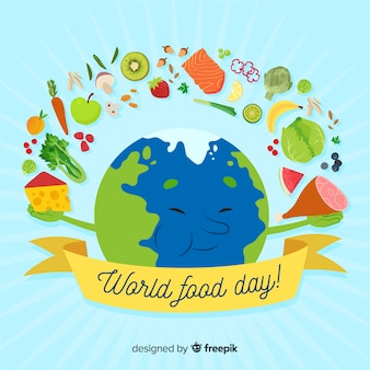 Journée de l'alimentation mondiale dessinée à la main