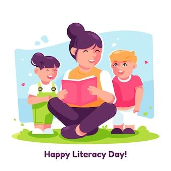 Journée d'alphabétisation en design plat