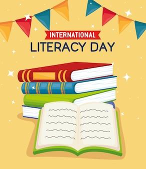 Journée d'alphabétisation avec pile de livres