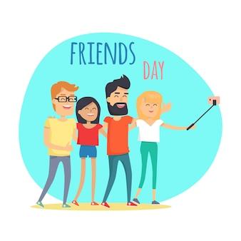 Journée des amis, deux garçons et deux filles font un selfie