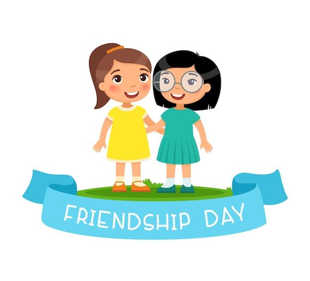 Journée de l'amitié deux petits personnages de dessins animés étreignant
