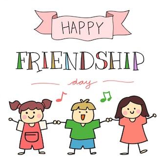 Journée de l'amitié heureuse, avec illustration d'enfants dessinés à la main