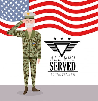 Journée des anciens combattants: célébration du soldat et drapeau