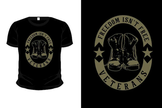 Journée des anciens combattants avec la conception de t-shirt de maquette de silhouette de marchandise de l'armée de démarrage