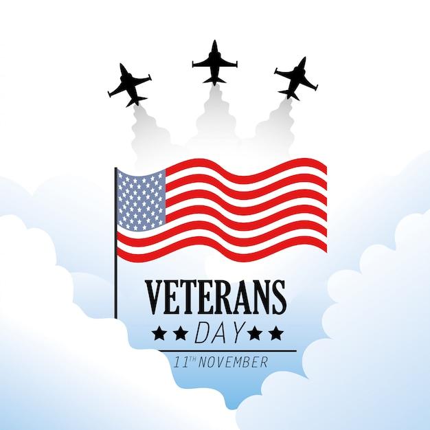 Journée des anciens combattants avec drapeau et avion militaire