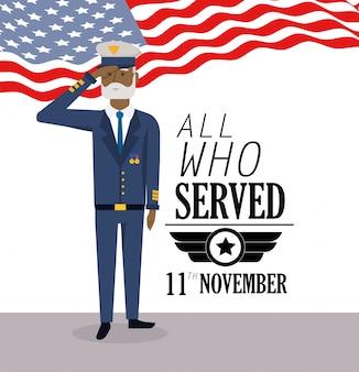 Journée des anciens combattants avec drapeau