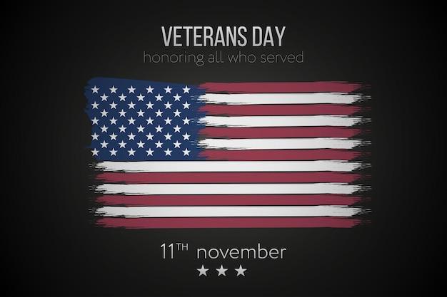 Journée des anciens combattants, fond du 11 novembre avec le drapeau américain à l'encre