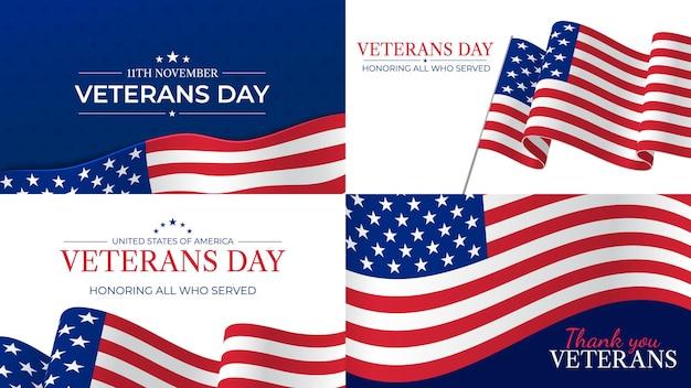 Journée des anciens combattants. joyeuse célébration de la journée des anciens combattants le 11 novembre en l'honneur des héros qui ont servi. drapeau des états-unis et lettrage des affiches vectorielles de vacances patriotiques. illustration de la journée des vétérans des états-unis, du respect et de la fierté