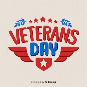 Journée des anciens combattants avec lettrage rouge et bleu