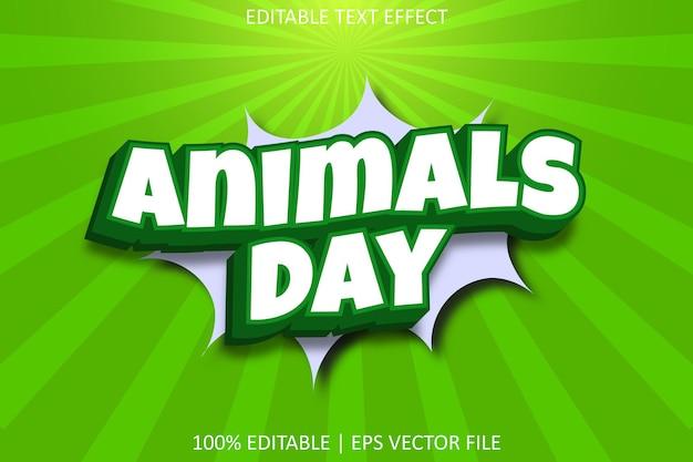 Journée des animaux avec effet de texte modifiable de style comique moderne