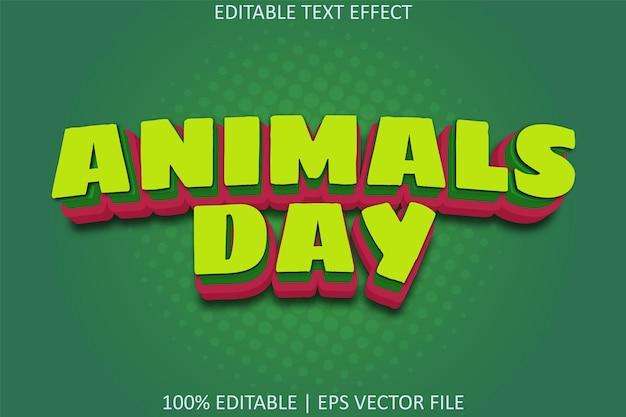 Journée des animaux avec effet de texte modifiable de style dessin animé