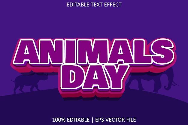 Journée des animaux avec effet de texte modifiable de style moderne