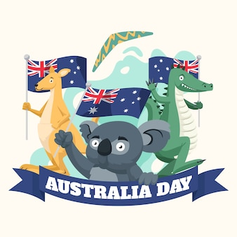 Journée de l'australie avec des animaux