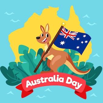 Journée de l'australie avec kangourou souriant et drapeau