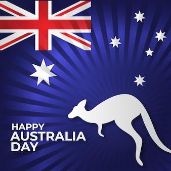 Journée australienne plate avec forme de kangourou