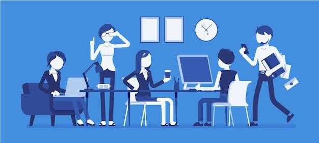 Journée bien remplie dans un petit bureau
