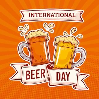 Journée de la bière avec des tasses style dessiné à la main