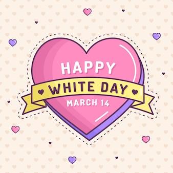 Journée blanche en illustration avec coeur