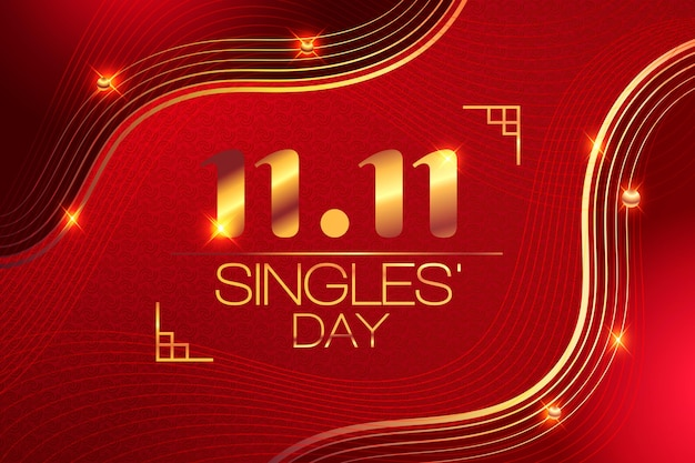 Journée des célibataires rouges et dorés