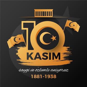 Journée commémorative noire et dorée à atatürk