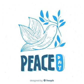Journée de la composition de la paix avec la colombe blanche dessinée à la main