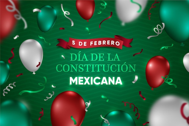Journée de la constitution du mexique avec des ballons réalistes
