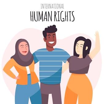 Journée des droits de l'homme des gens heureux