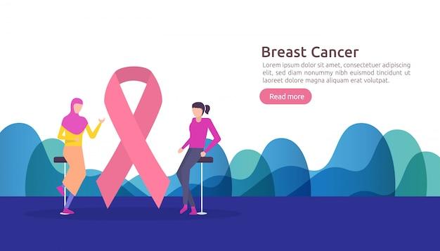 Journée du cancer du sein mois de sensibilisation avec ruban rose