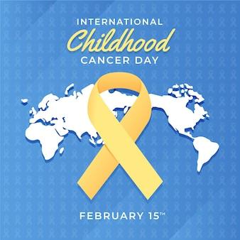 Journée du cancer infantile avec design plat ruban