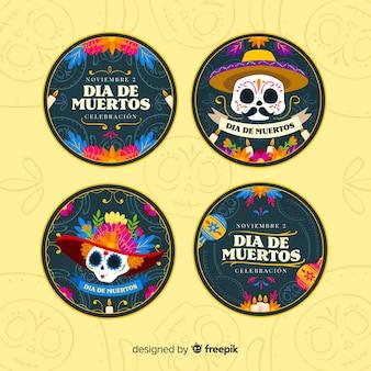 Journée du design plat de la collection d'étiquettes mortes