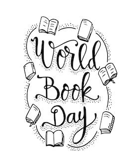 Journée du livre mondiale citations avec des livres lettrage dessiné à la main