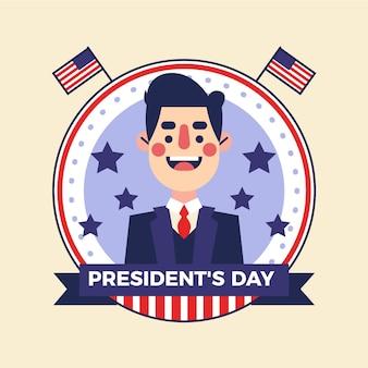 Journée du président design plat illustré