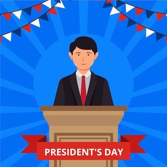 Journée du président en design plat
