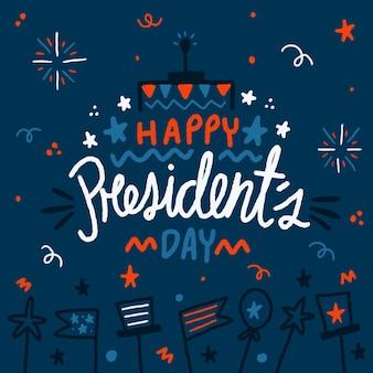 Journée du président illustrations dessinées à la main