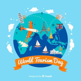 Journée du tourisme dans le monde plat
