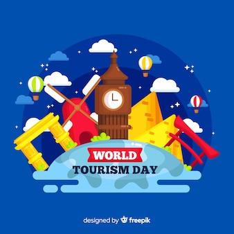 Journée du tourisme design plat avec des points de repère