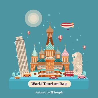 Journée du tourisme dessiné à la main dans les tons bleus