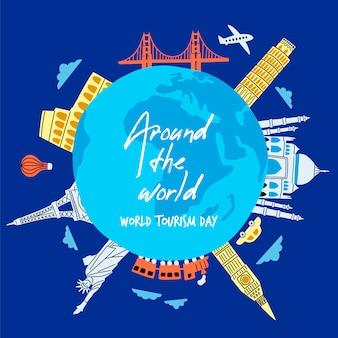 Journée du tourisme dessinée à la main avec des points de repère