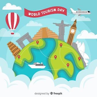 Journée du tourisme dessinée à la main avec une variété de moyens de transport