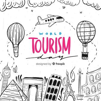 Journée du tourisme mondial lettrage de fond
