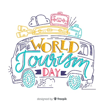 Journée du tourisme mondial lettrage minimaliste