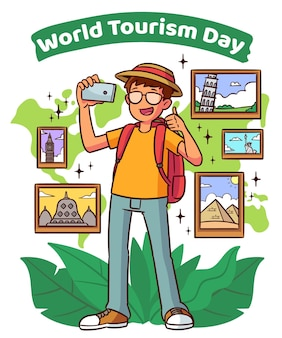 Journée du tourisme de style dessiné à la main