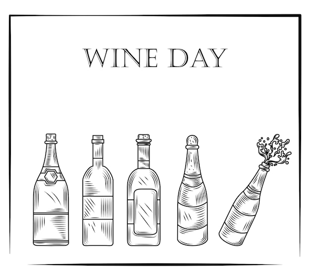 Journée du vin, ensemble de bouteilles de vin dans un style vintage gravé